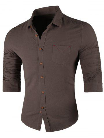 Best Chest Pocket Long Sleeve Casual Shirt