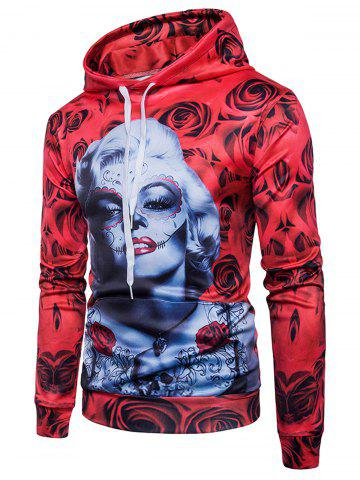 Shop Rose Flower Figure Print Hoodie