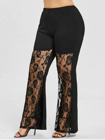 Outfit Rose Lace Insert Plus Size Flare Leggings