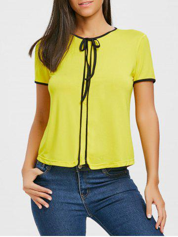 Trendy Tie Contrast Trim Blouse
