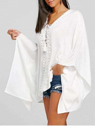 Unique Crochet Trimmed Lace Up Kaftan Blouse