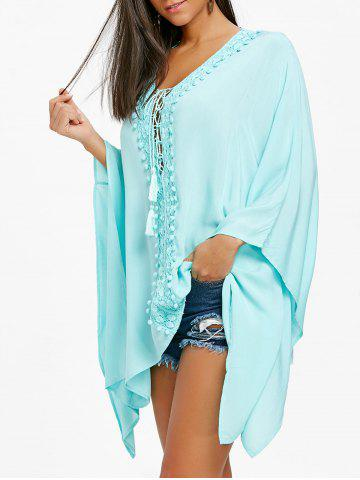 Fashion Crochet Trimmed Lace Up Kaftan Blouse