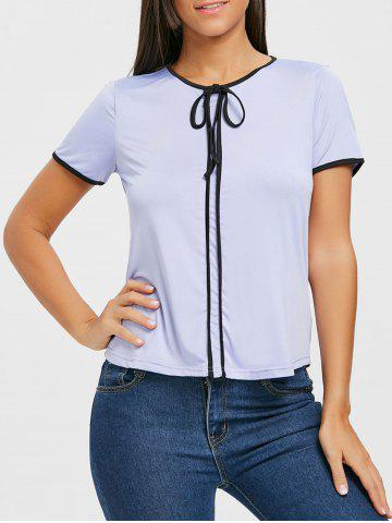 Discount Tie Contrast Trim Blouse