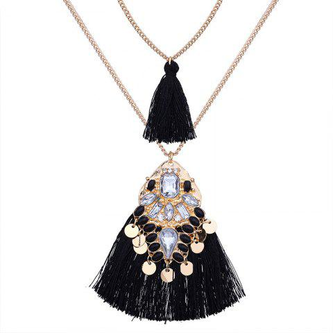 Unique Artificial Crystal Disc Tassel Layered Necklace