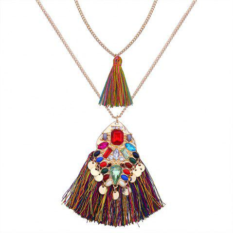 Trendy Artificial Crystal Disc Tassel Layered Necklace