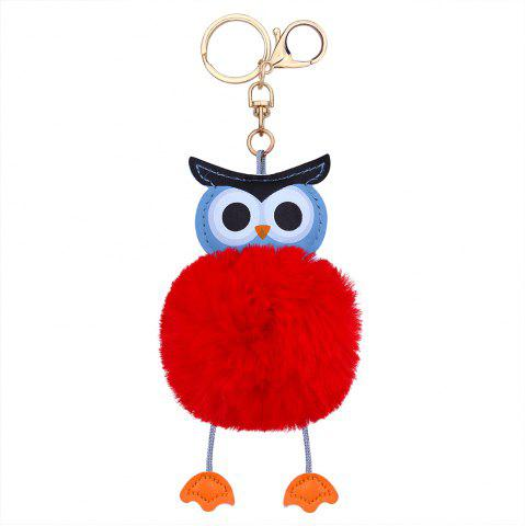Latest PU Leather Fuzzy Ball Cute Owl Keychain