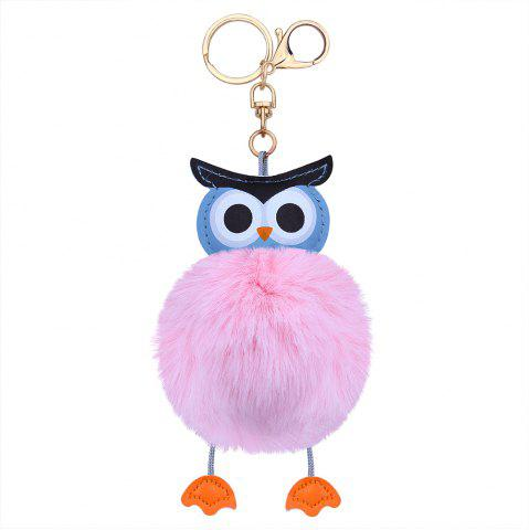 Trendy PU Leather Fuzzy Ball Cute Owl Keychain