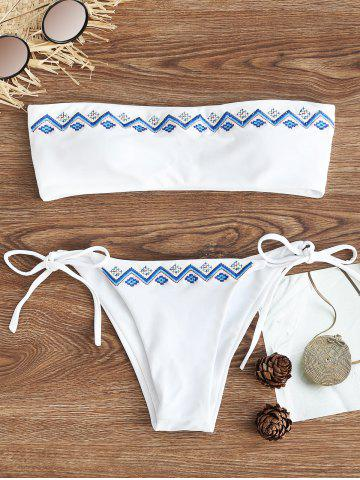 Fashion Bandeau Embroidered String Bikini Set