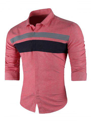 Trendy Contrast Wide Stripe Long Sleeve Shirt