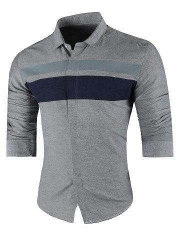 Affordable Contrast Wide Stripe Long Sleeve Shirt