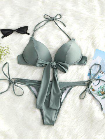 Shops Push Up Knot Front String Bikini Set