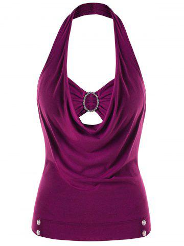 Trendy Plus Size Embellished Halter Neck Tank Top
