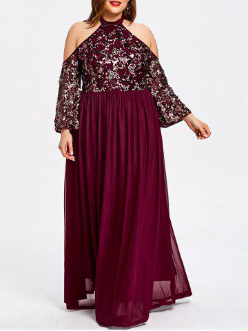Online Plus Size Cold Shoulder Sequined Glittery Prom Dress