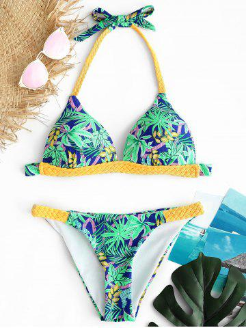 Trendy Printed Braided Strap Bikini Set