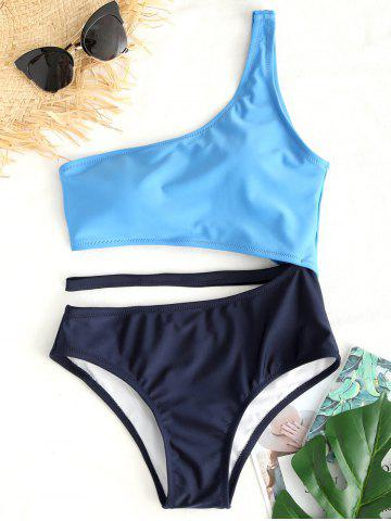Fancy Two Tone One Shoulder Swimsuit