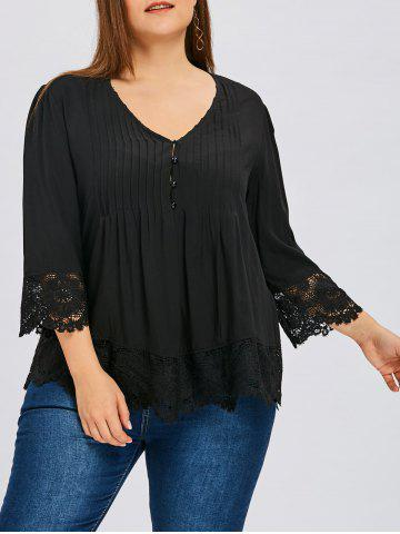 Fashion Plus Size Lace Insert Skirted Pleated Blouse