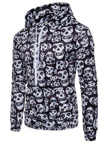 Discount Allover Skulls Print Pullover Hoodie