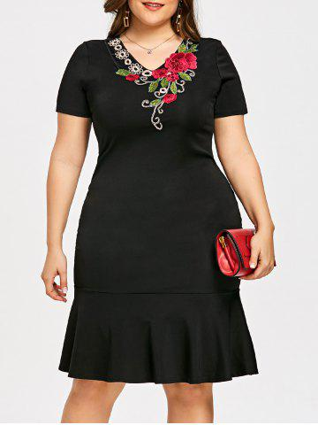 Store Plus Size Embroidery V Neck Mermaid Dress