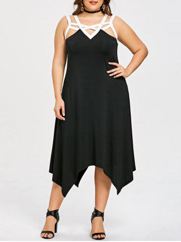 Affordable Plus Size Sleeveless Two Tone Handkerchief Dress