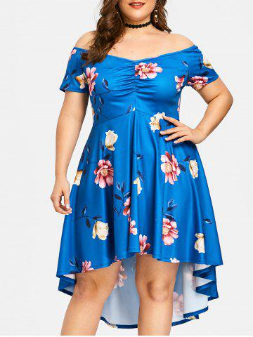 New Plus Size Floral Off The Shoulder Party Dress