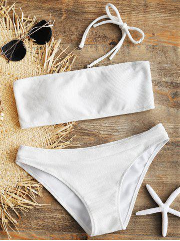 Halter Ribbed Bikini Set - WHITE - L