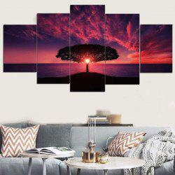 Sunset Glow Seascape Printed Unframed Split Canvas Paintings -