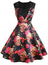 Sweetheart Sleeveless Flower Print Vintage Dress -