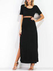 Side Slit Mesh Panel Maxi Dress -