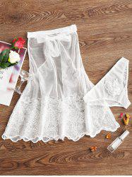 Backless Mesh Sheer Embroidery Babydoll -