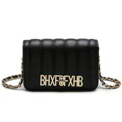 Stitching Metallic Letter Crossbody Bag -