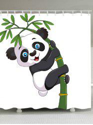 Adorable Panda Hugging Bamboo Patterned Shower Curtain -