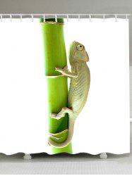 Chameleon Climbing the Tree Printed Shower Curtain -