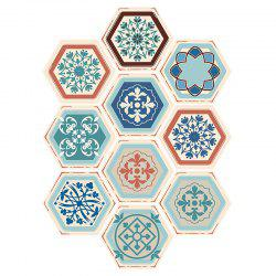 10PCS Hexagon Floral Patterned Stickers muraux -