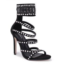 Beaded Super High Heel Strappy Sandal -