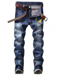 Straight Leg Bird Embroidery Distressed Jeans -