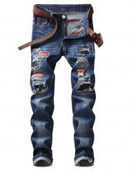 Straight Leg Patches Ripped Jeans -