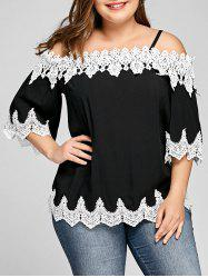 Plus Size Two Tone Scalloped Edge Top -