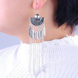 Long Vintage Alloy Leaf Fringed Drop Earrings -