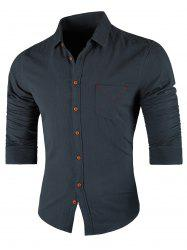Chest Pocket Long Sleeve Casual Shirt -