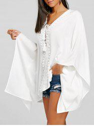 Crochet Trimmed Lace Up Kaftan Blouse -