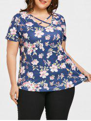 Plus Size Caged Cutout Floral T-shirt -