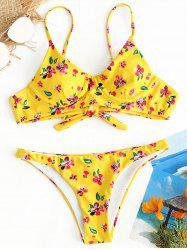 Low Waist Floral Thong Bikini Set -