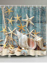 Waterproof Starfish and Shell Printed Bath Shower Curtain -