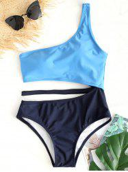 Two Tone One Shoulder Swimsuit -