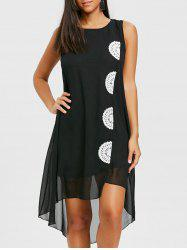 Crochet Insert Swing Chiffon Dress -