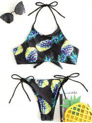 String Pineapple Print Bikini Swimsuit -