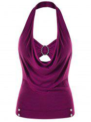Plus Size Embellished Halter Neck Tank Top -