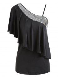 One Shoulder Sequins Overlay Top -