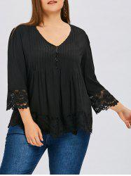 Plus Size Lace Insert Skirted Pleated Blouse -