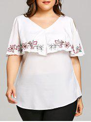 Plus Size Cold Shoulder Embroidery Overlay Blouse -